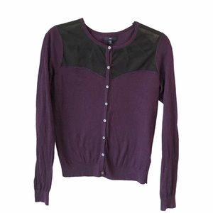 Cardigan Plum mesh chest full button layer light S